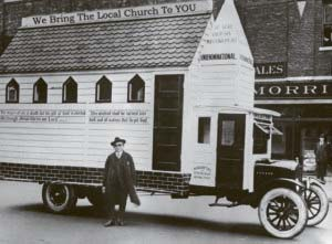 church building on a lorry