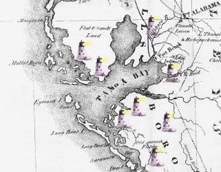 early map of Tampa Bay, with ekklesia lighthouses