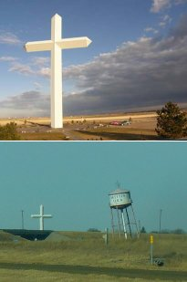 huge cross and leaning tower at Groom, Texas